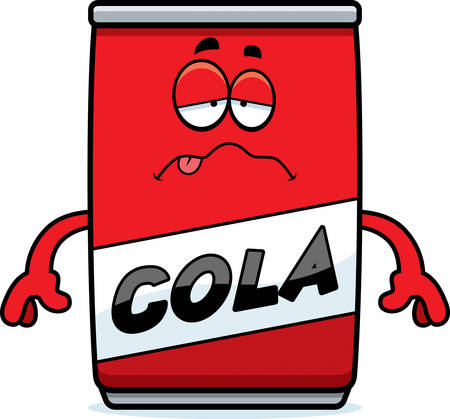 nauseous: A cartoon illustration of a can of cola looking sick.