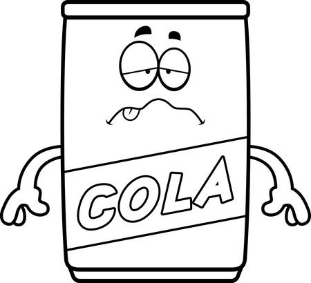A cartoon illustration of a can of cola looking sick.