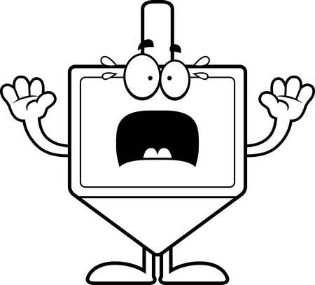 dreidel: A cartoon illustration of a dreidel looking scared. Illustration