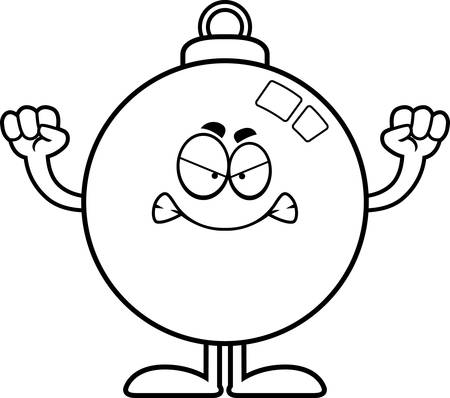 A cartoon illustration of a Christmas ornament looking angry.