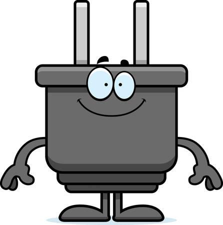 Een cartoon illustratie van een elektrische stekker op zoek gelukkig. Stock Illustratie