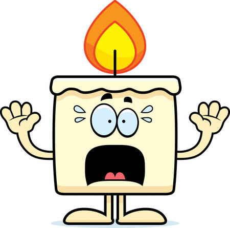 A cartoon illustration of a candle looking scared. Banco de Imagens - 42987808