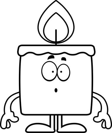 A cartoon illustration of a candle looking surprised. Banco de Imagens - 42987809