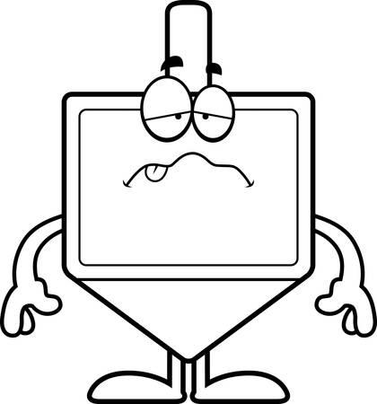 dreidel: A cartoon illustration of a dreidel looking sick.