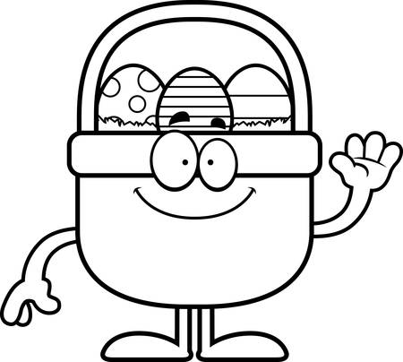 easter basket: A cartoon illustration of an Easter basket waving.
