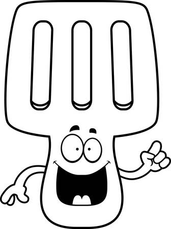 A cartoon illustration of a spatula with an idea. Imagens - 42987988