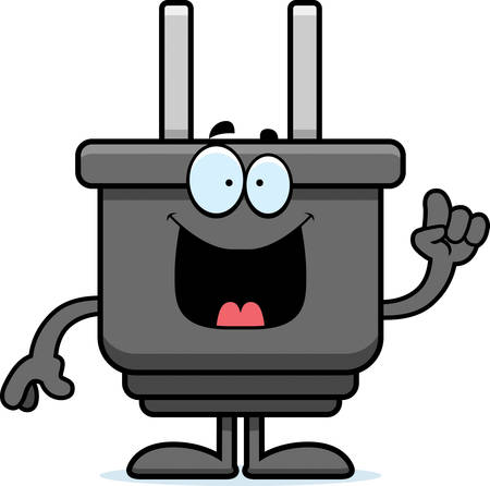 electrical plug: A cartoon illustration of an electrical plug with an idea.