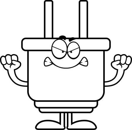A cartoon illustration of an electrical plug looking angry. Ilustrace