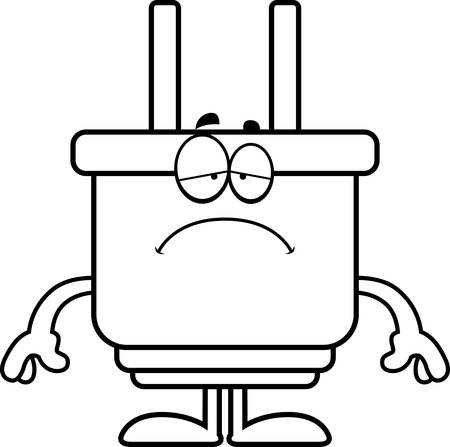 A cartoon illustration of an electrical plug looking sad.