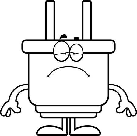 Een cartoon illustratie van een elektrische plug op zoek verdrietig. Stock Illustratie