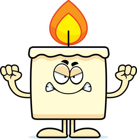 A cartoon illustration of a candle looking angry. Ilustração