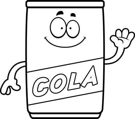 A cartoon illustration of a can of cola waving. Vectores