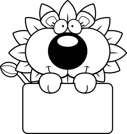 Een cartoon illustratie van een paardebloem leeuw met een wit teken.