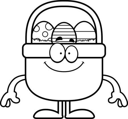 easter basket: A cartoon illustration of an Easter basket looking happy.