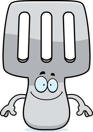 A cartoon illustration of a spatula looking happy. Imagens - 42987745