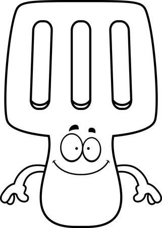 A cartoon illustration of a spatula looking happy. Imagens - 42987151