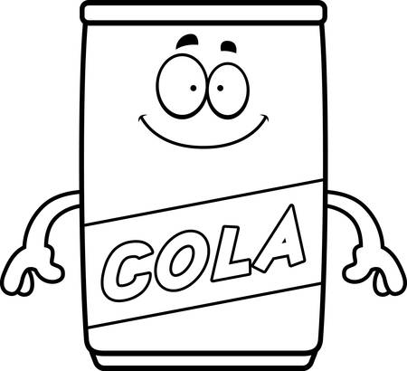 colas: A cartoon illustration of a can of cola looking happy.