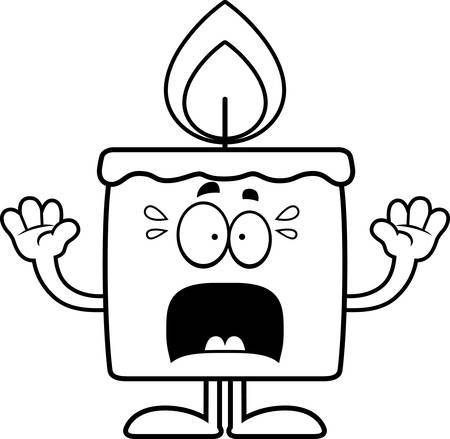 A cartoon illustration of a candle looking scared.