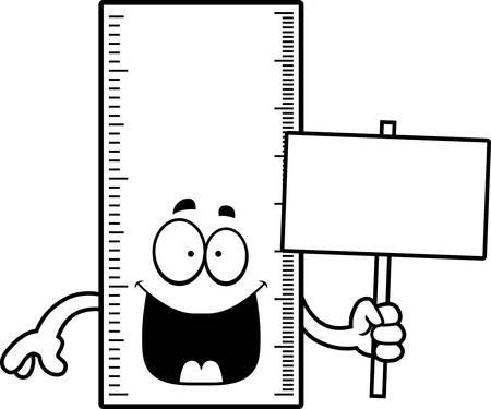 A cartoon illustration of a ruler holding a sign. Ilustracja