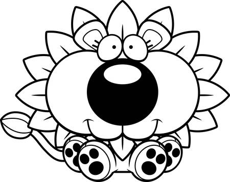 A cartoon illustration of a dandelion lion sitting and smiling.