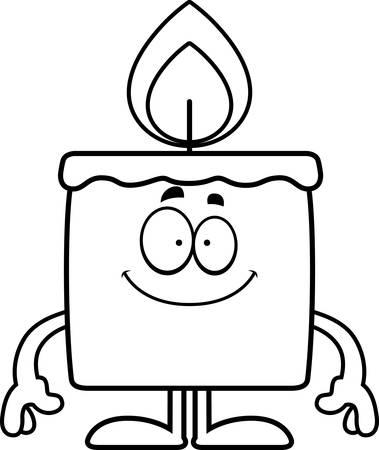 A cartoon illustration of a candle looking happy. Ilustração