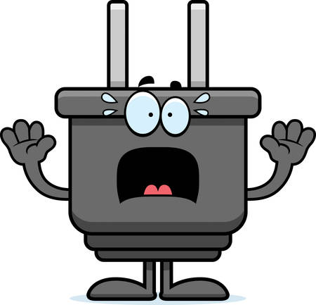 electrical plug: A cartoon illustration of an electrical plug looking scared. Illustration