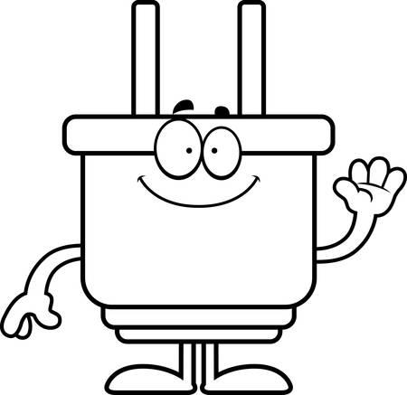 A cartoon illustration of an electrical plug waving.