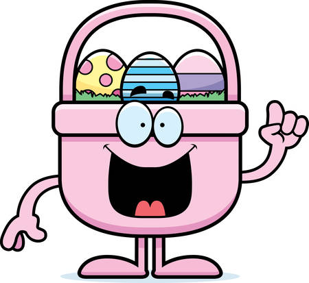 cartoon easter basket: A cartoon illustration of an Easter basket with an idea.