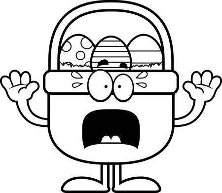 cartoon easter basket: A cartoon illustration of an Easter basket looking scared. Illustration