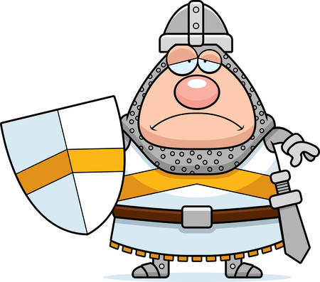 unhappy man: A cartoon illustration of a knight looking sad.