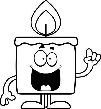 A cartoon illustration of a candle with an idea. Ilustração