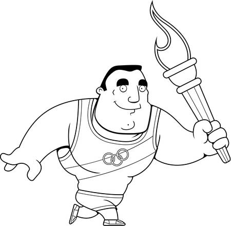 A cartoon sports competition athlete walking with the sports competition torch.