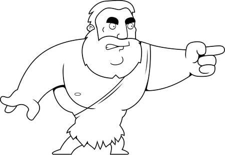 barbarian: A cartoon barbarian man angry and pointing.