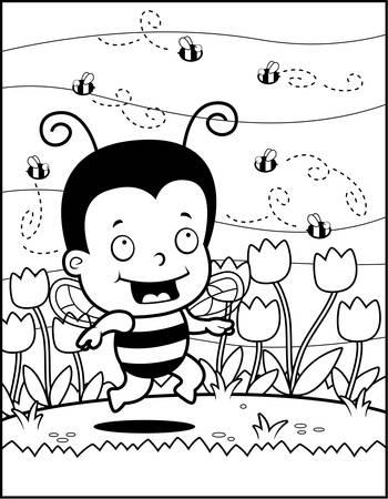 bee garden: A happy cartoon bee kid in garden of flowers.