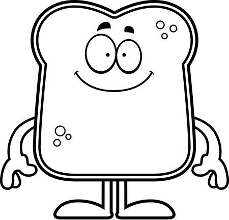 A cartoon illustration of a piece of bread looking happy. Illustration