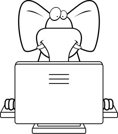 コンピューターと幸せ漫画象。 写真素材 - 43331580