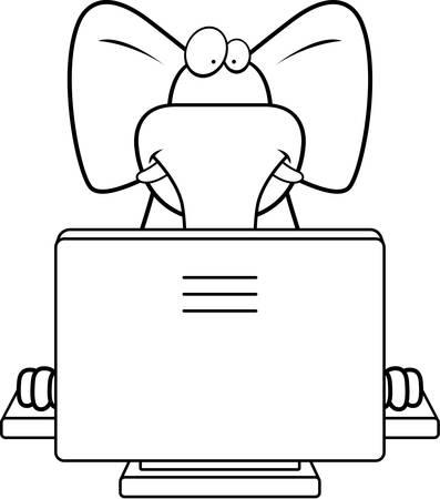 A happy cartoon elephant with a computer. Иллюстрация