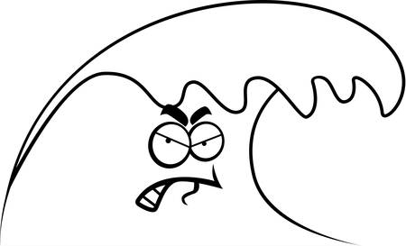 tsunami wave: A cartoon ocean wave with an angry expression.