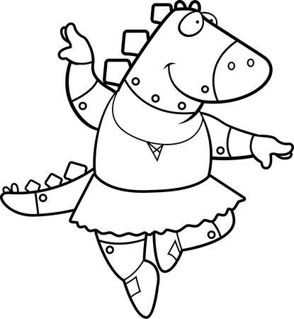 stegosaurus: A cartoon illustration of a robot stegosaurus dinosaur ballerina dancing.