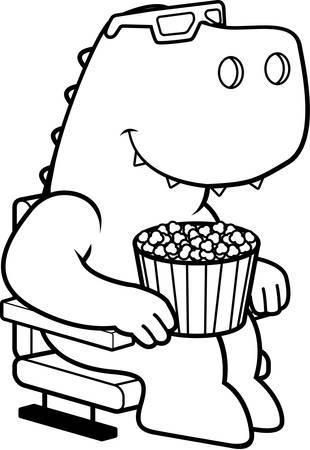 watching 3d: A cartoon illustration of a Tyrannosaurus Rex dinosaur watching a 3D movie.
