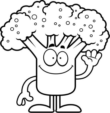 A cartoon illustration of a piece of broccoli waving.
