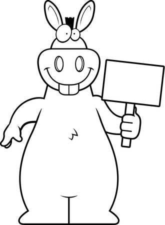 A happy cartoon donkey with a sign.