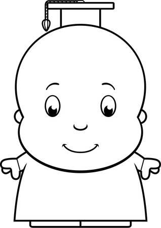 교수 복장 아기 천재의 만화 그림. 일러스트