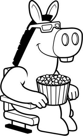 3 D 映画を見てロバの漫画イラスト。