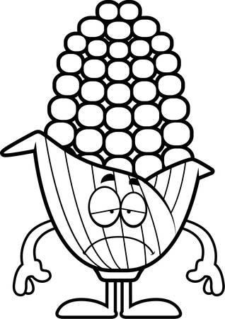 슬픈 찾고 옥수수의 귀에의 만화 그림.