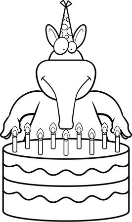 aardvark: A cartoon illustration of an aardvark with a birthday cake.