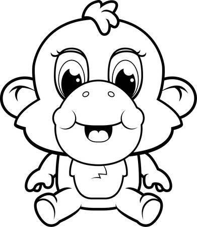 A happy cartoon baby monkey sitting and smiling.