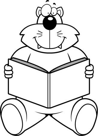 novel: A cartoon cat reading a book and smiling.