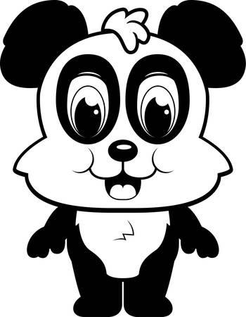 A happy cartoon panda standing and smiling. Illusztráció