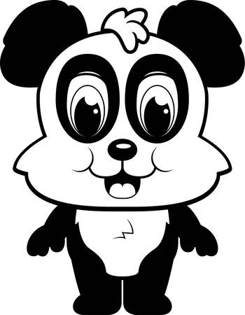 A happy cartoon panda standing and smiling. Illustration